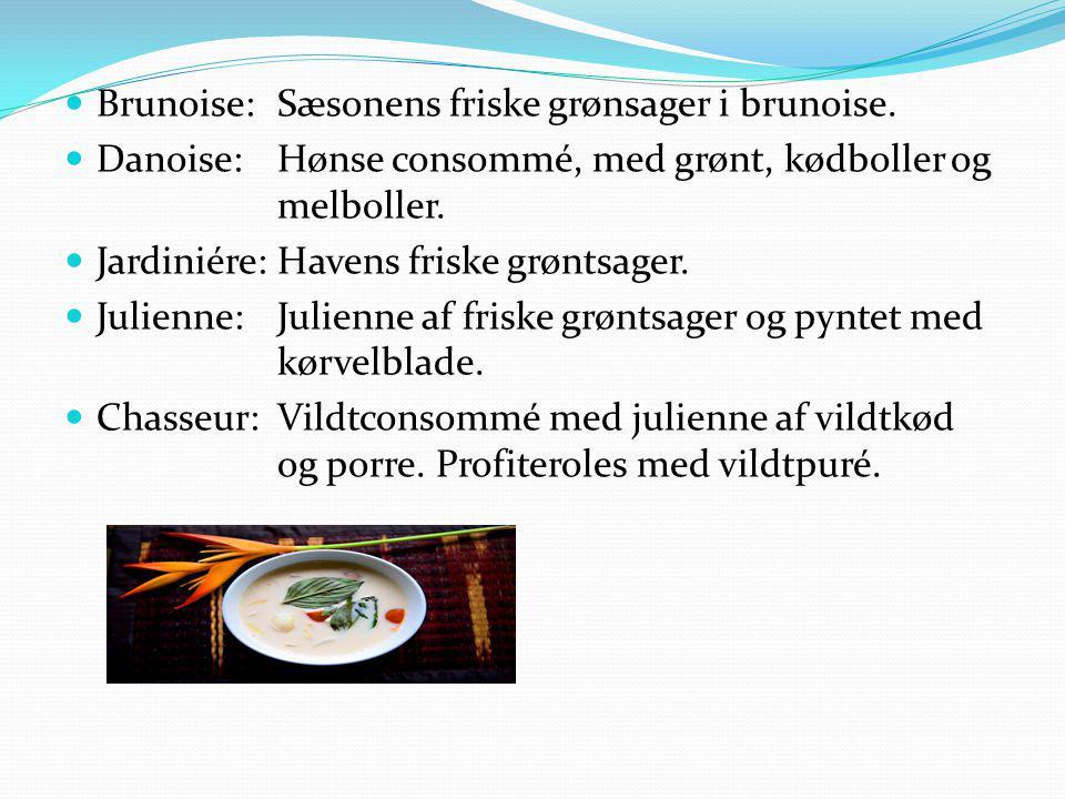 Brunoise: Sæsonens friske grønsager i brunoise.