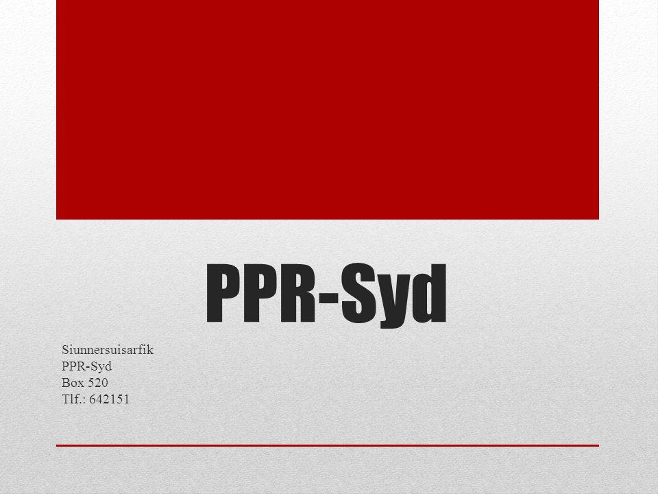 Siunnersuisarfik PPR-Syd Box 520 Tlf.: 642151