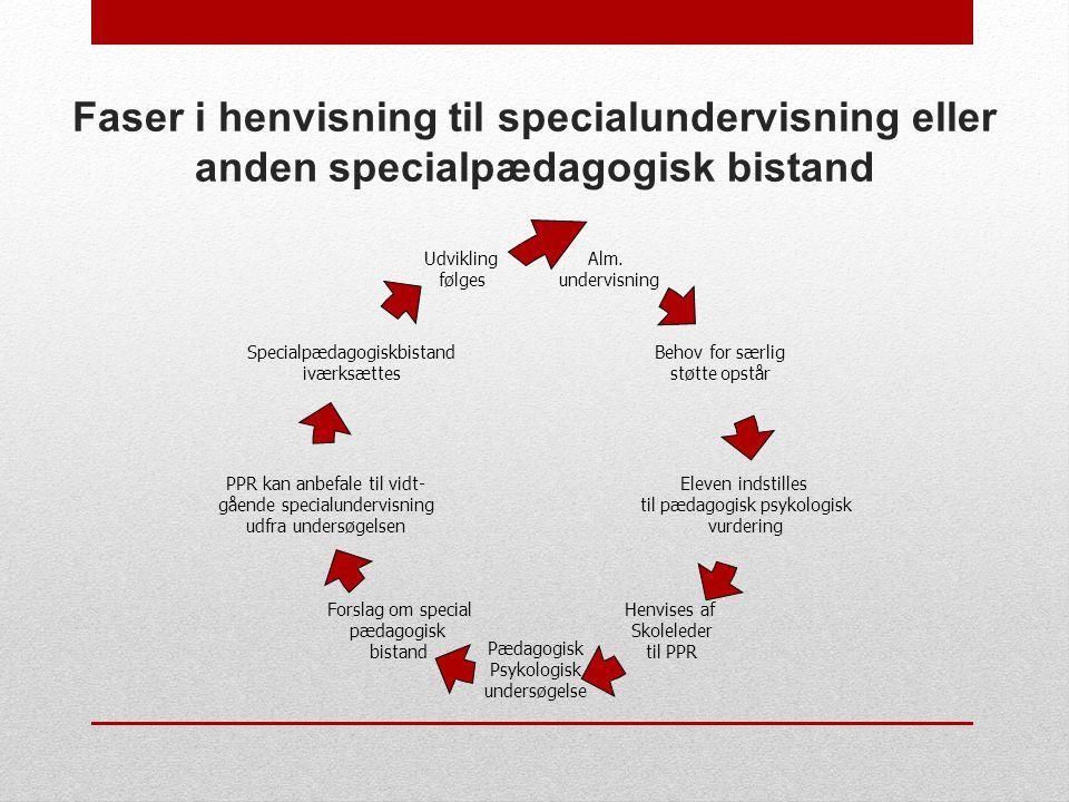 Faser i henvisning til specialundervisning eller anden specialpædagogisk bistand
