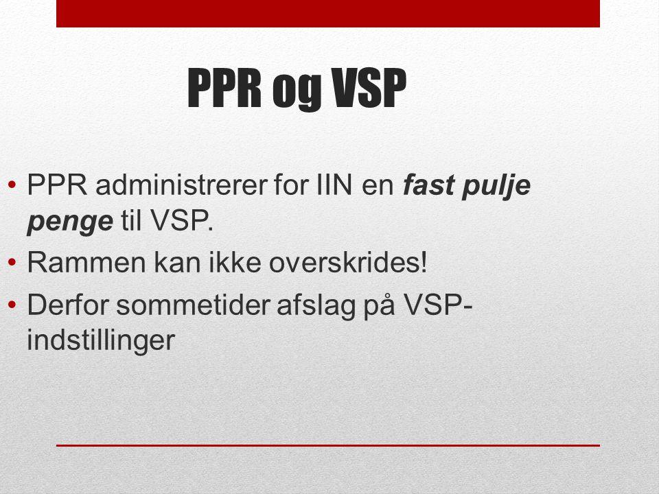 PPR og VSP PPR administrerer for IIN en fast pulje penge til VSP.