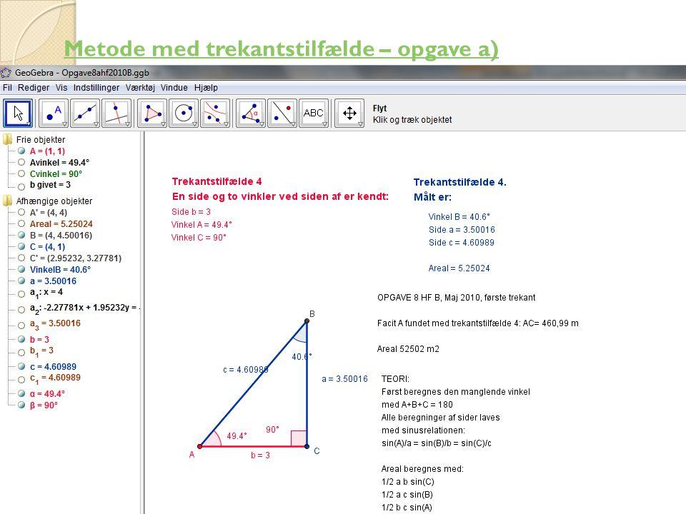 Metode med trekantstilfælde – opgave a)