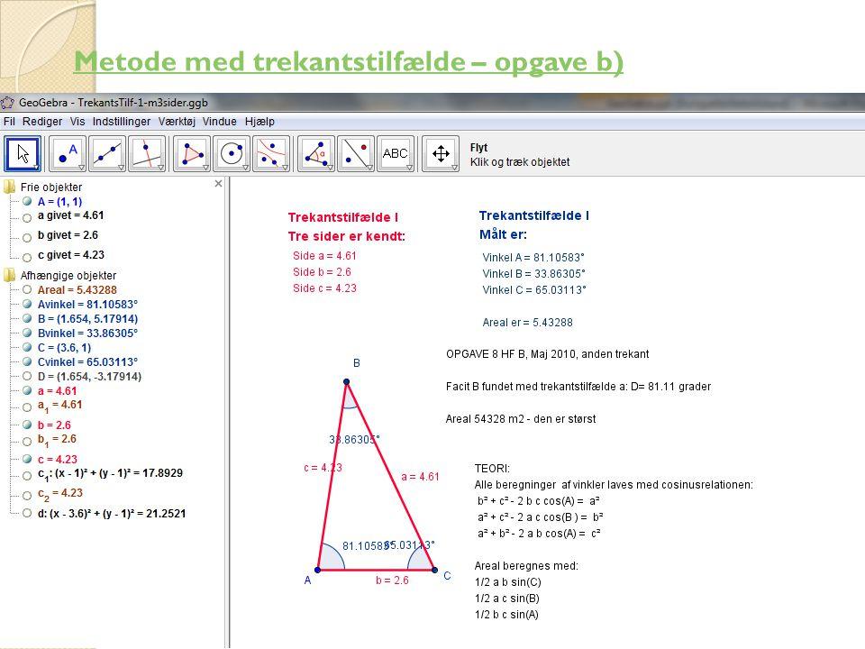 Metode med trekantstilfælde – opgave b)