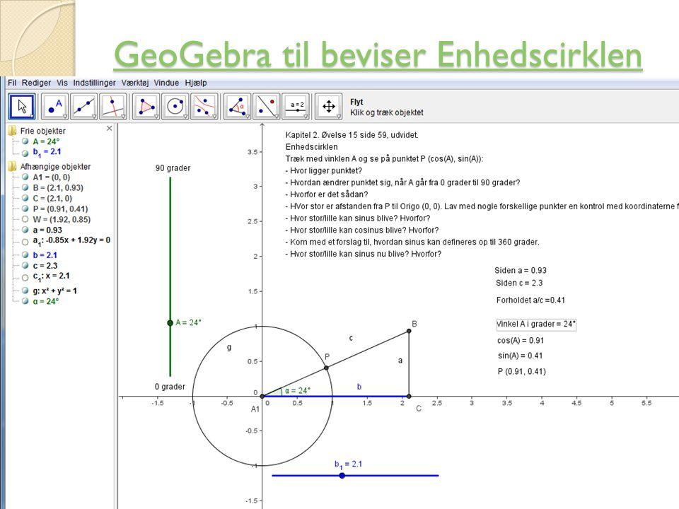 GeoGebra til beviser Enhedscirklen