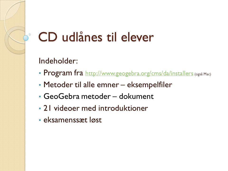 CD udlånes til elever Indeholder: