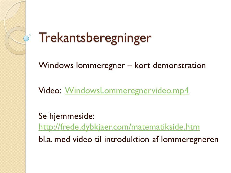 Trekantsberegninger Windows lommeregner – kort demonstration