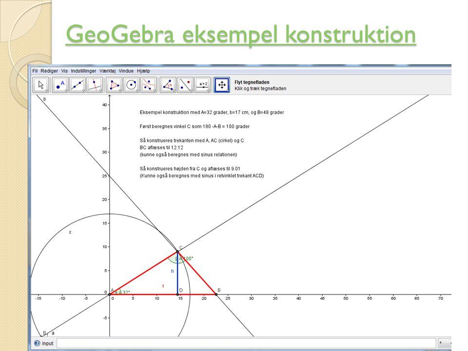 GeoGebra eksempel konstruktion