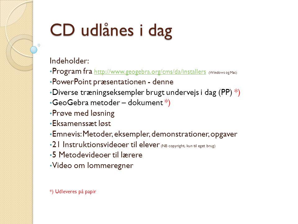 CD udlånes i dag Indeholder: