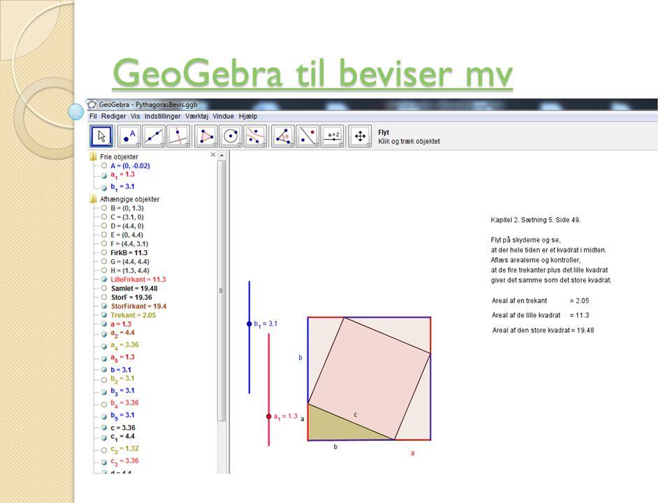 GeoGebra til beviser mv