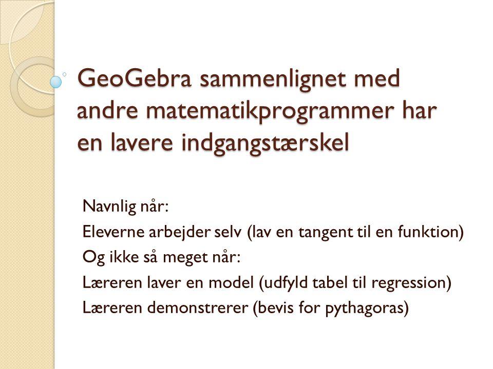 GeoGebra sammenlignet med andre matematikprogrammer har en lavere indgangstærskel