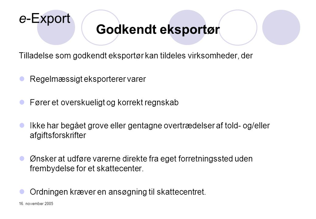 e-Export Godkendt eksportør