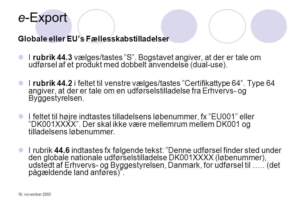 e-Export Globale eller EU's Fællesskabstilladelser