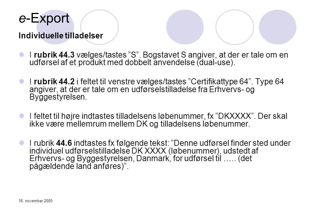 e-Export Individuelle tilladelser