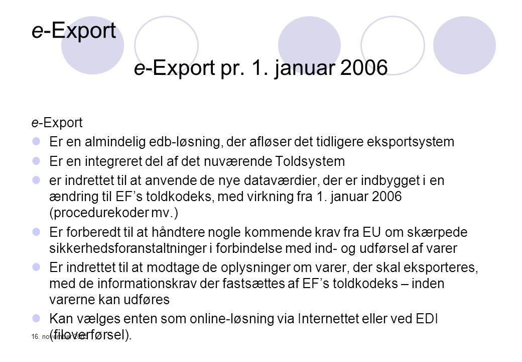 e-Export e-Export pr. 1. januar 2006 e-Export