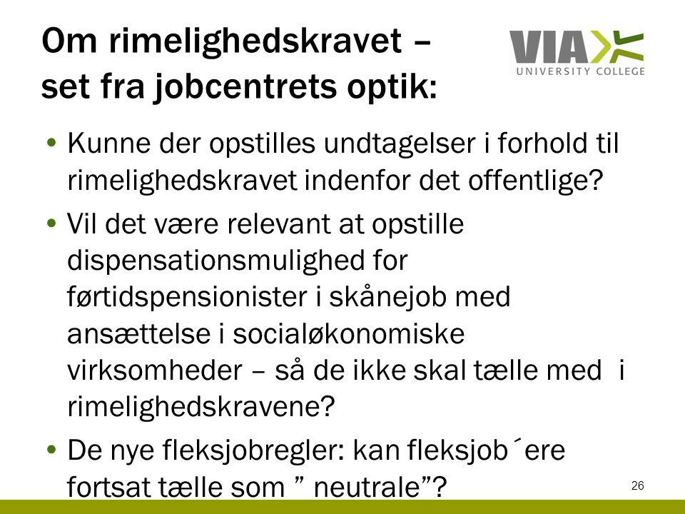 Om rimelighedskravet – set fra jobcentrets optik: