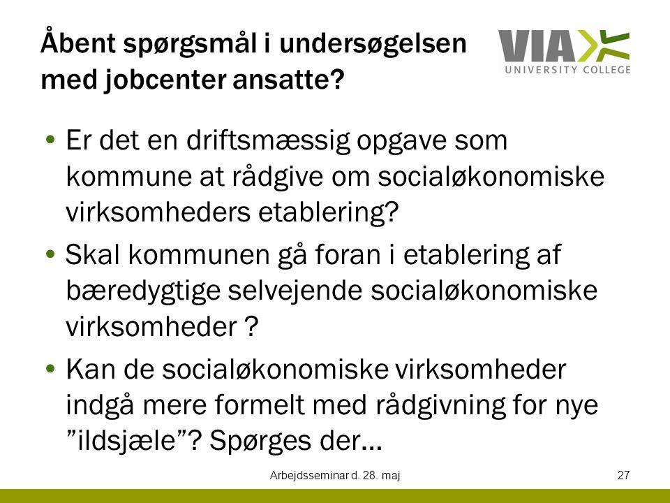 Åbent spørgsmål i undersøgelsen med jobcenter ansatte