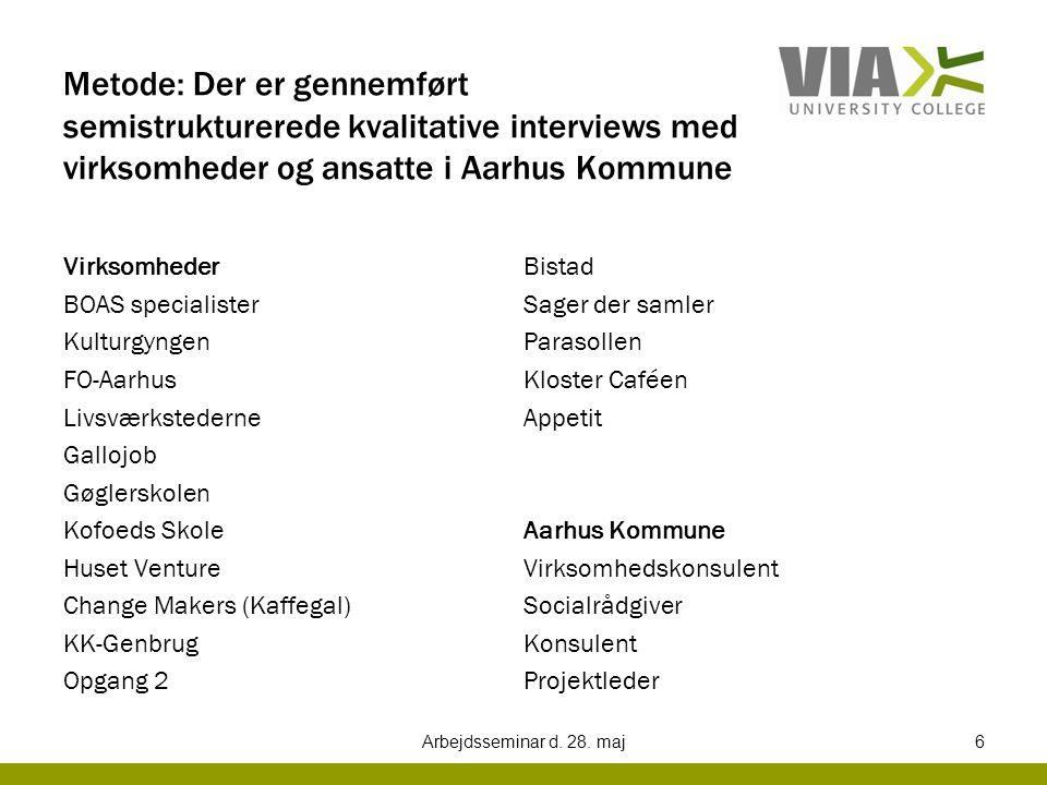 Metode: Der er gennemført semistrukturerede kvalitative interviews med virksomheder og ansatte i Aarhus Kommune