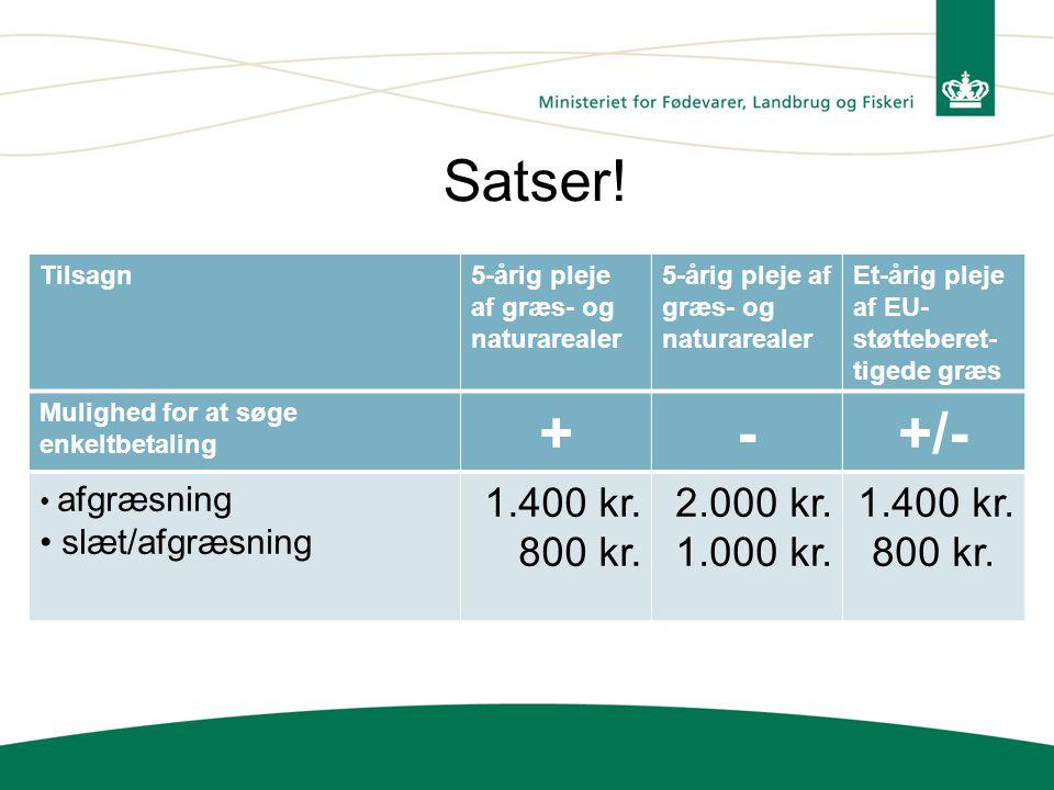 Satser! + - +/- 1.400 kr. 800 kr. 2.000 kr. 1.000 kr. slæt/afgræsning