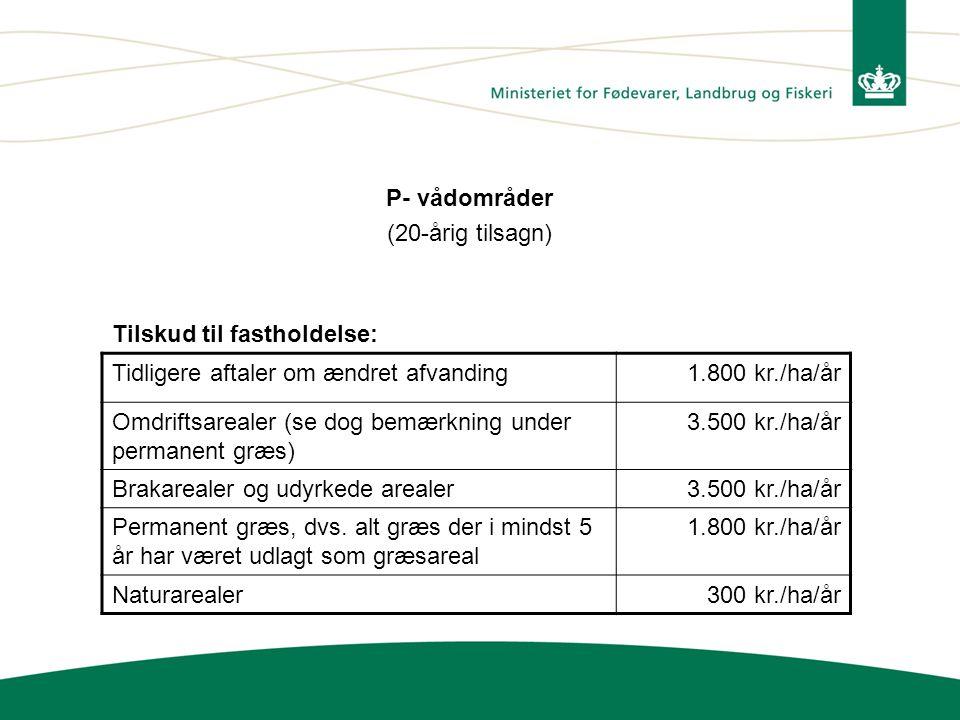 P- vådområder (20-årig tilsagn) Tilskud til fastholdelse: Tidligere aftaler om ændret afvanding. 1.800 kr./ha/år.
