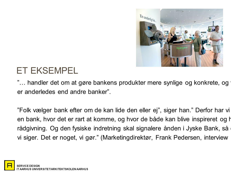 ET EKSEMPEL … handler det om at gøre bankens produkter mere synlige og konkrete, og vise at Jyske Bank.