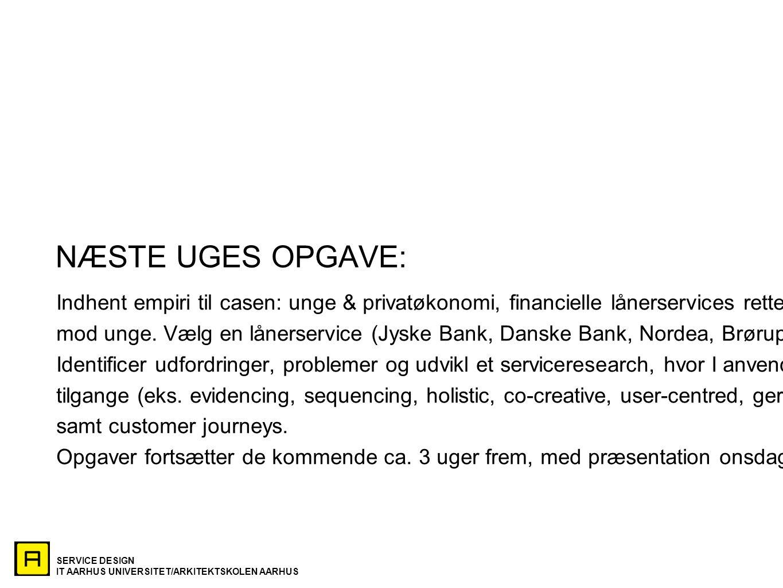 NÆSTE UGES OPGAVE: Indhent empiri til casen: unge & privatøkonomi, financielle lånerservices rettet.