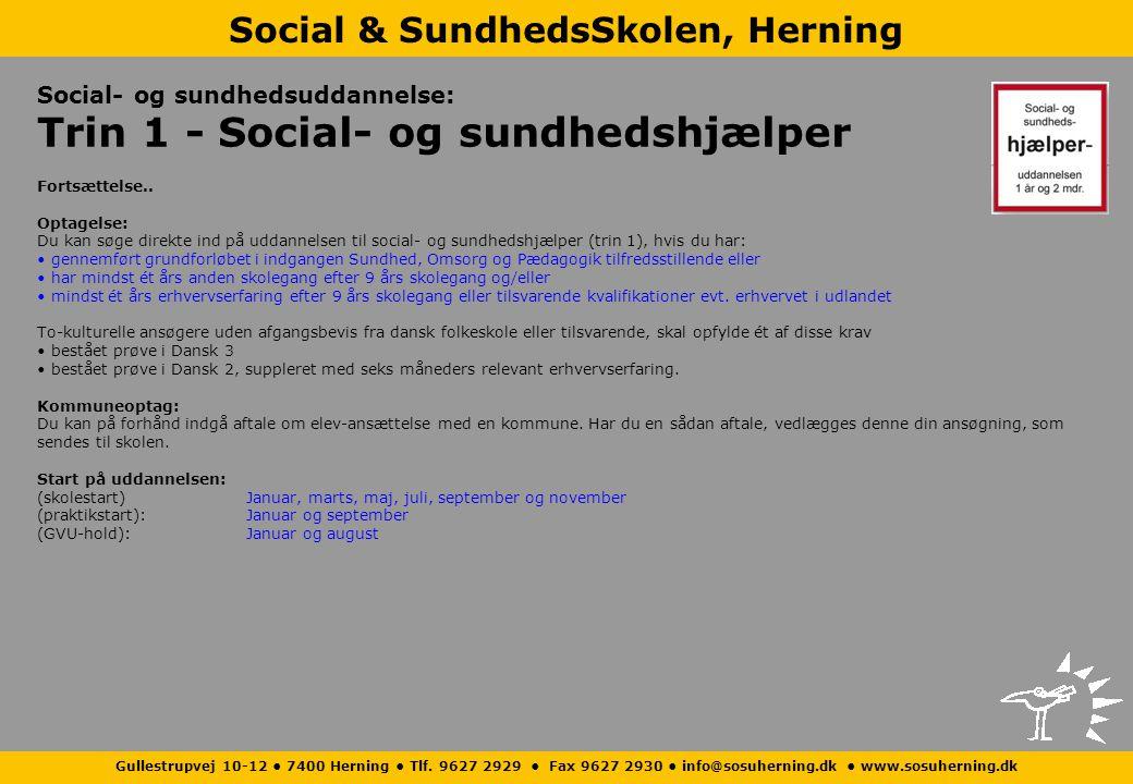 Social- og sundhedsuddannelse: Trin 1 - Social- og sundhedshjælper