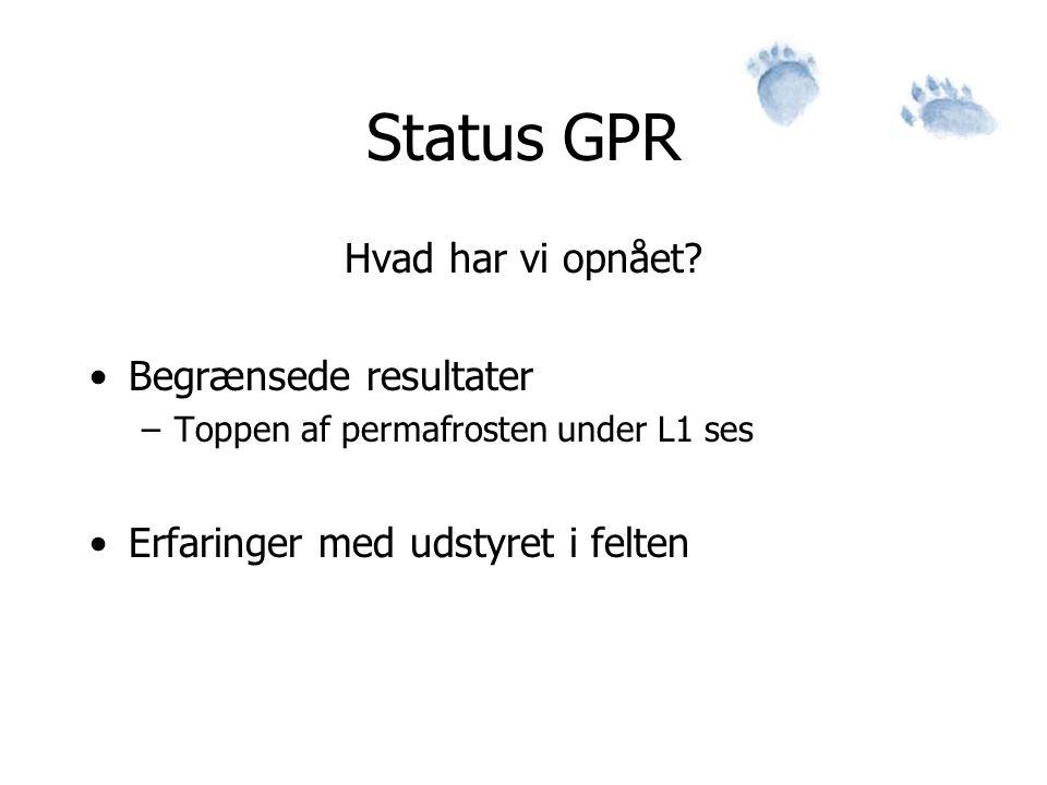 Status GPR Hvad har vi opnået Begrænsede resultater