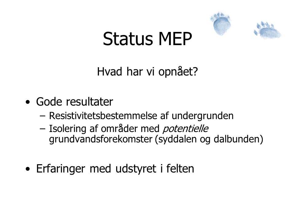 Status MEP Hvad har vi opnået Gode resultater