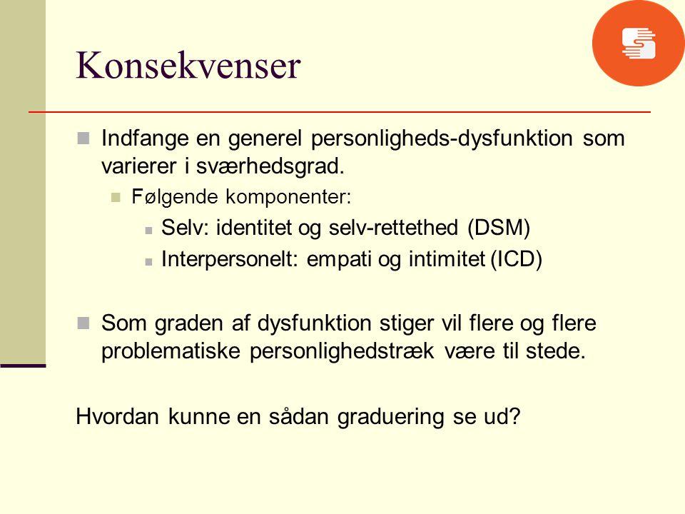 Konsekvenser Indfange en generel personligheds-dysfunktion som varierer i sværhedsgrad. Følgende komponenter: