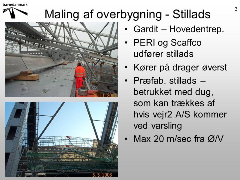 Maling af overbygning - Stillads