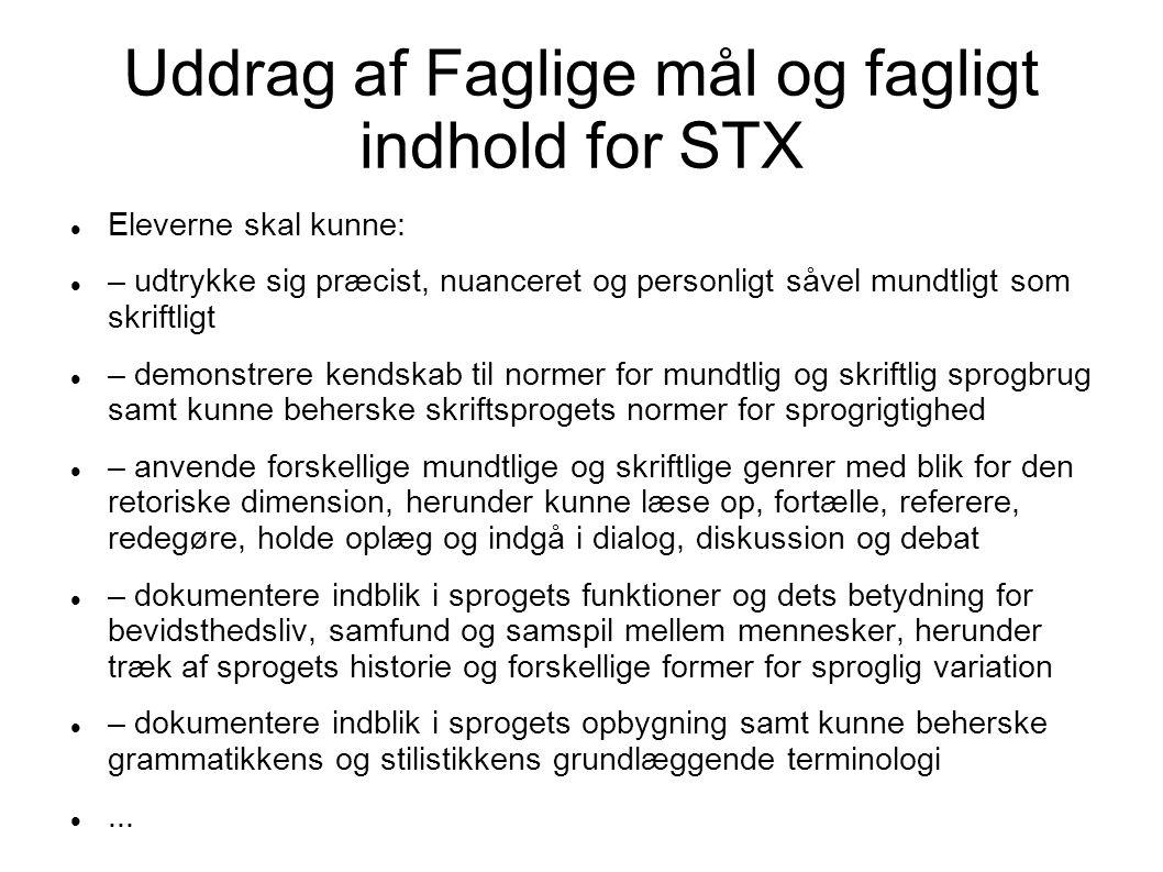 Uddrag af Faglige mål og fagligt indhold for STX