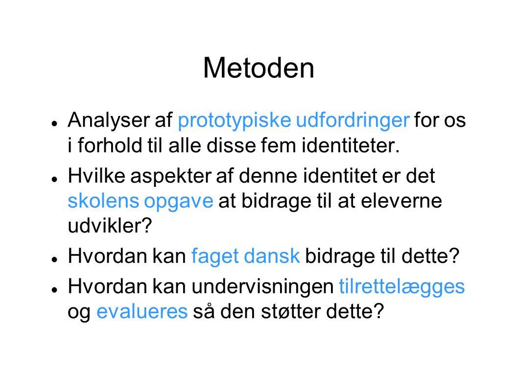 Metoden Analyser af prototypiske udfordringer for os i forhold til alle disse fem identiteter.