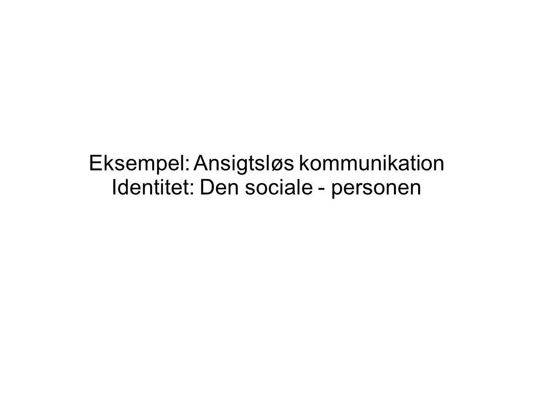 Eksempel: Ansigtsløs kommunikation Identitet: Den sociale - personen
