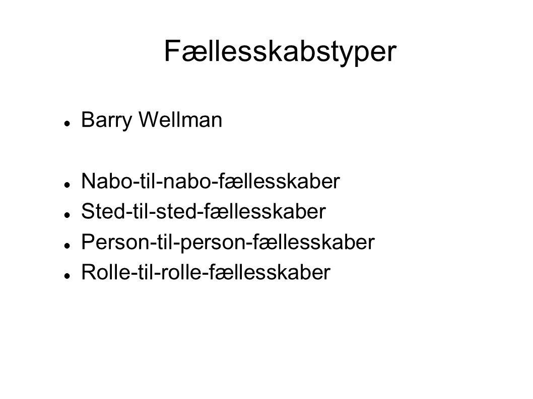 Fællesskabstyper Barry Wellman Nabo-til-nabo-fællesskaber