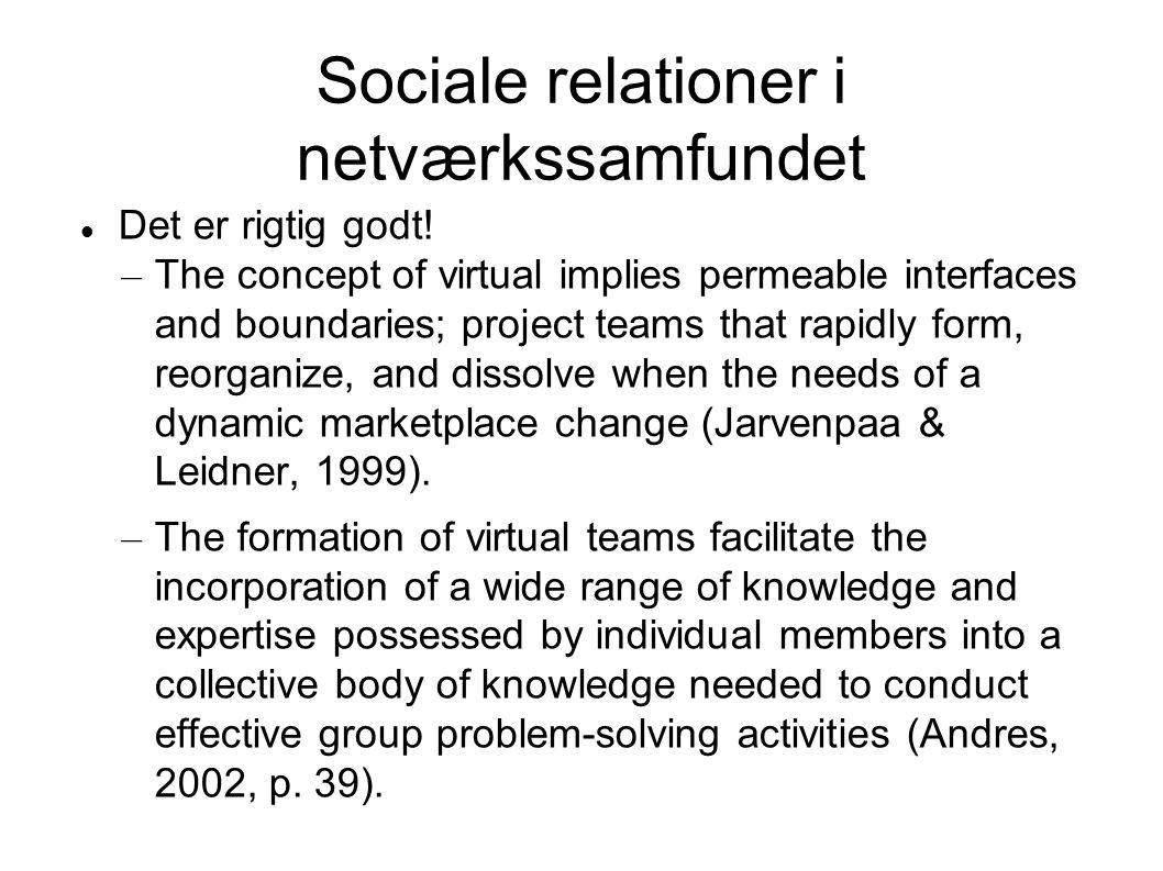Sociale relationer i netværkssamfundet