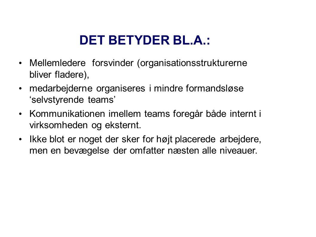 DET BETYDER BL.A.: Mellemledere forsvinder (organisationsstrukturerne bliver fladere),