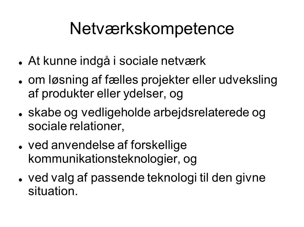 Netværkskompetence At kunne indgå i sociale netværk