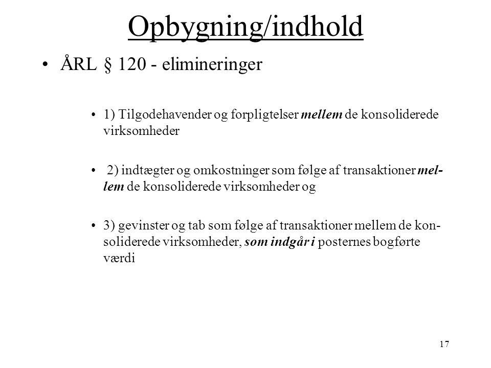 Opbygning/indhold ÅRL § 120 - elimineringer