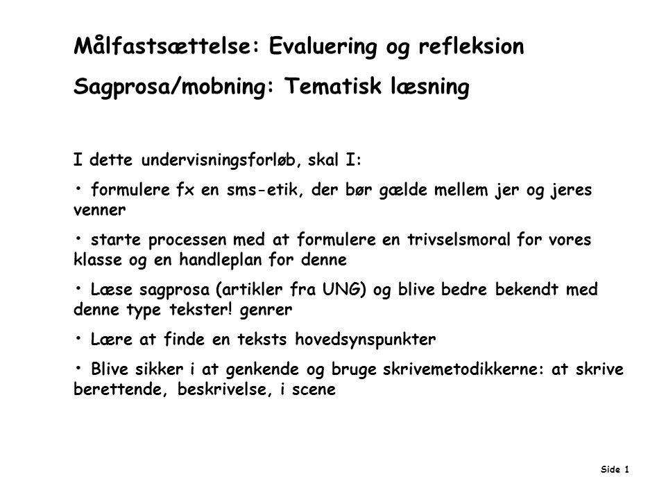 Målfastsættelse: Evaluering og refleksion