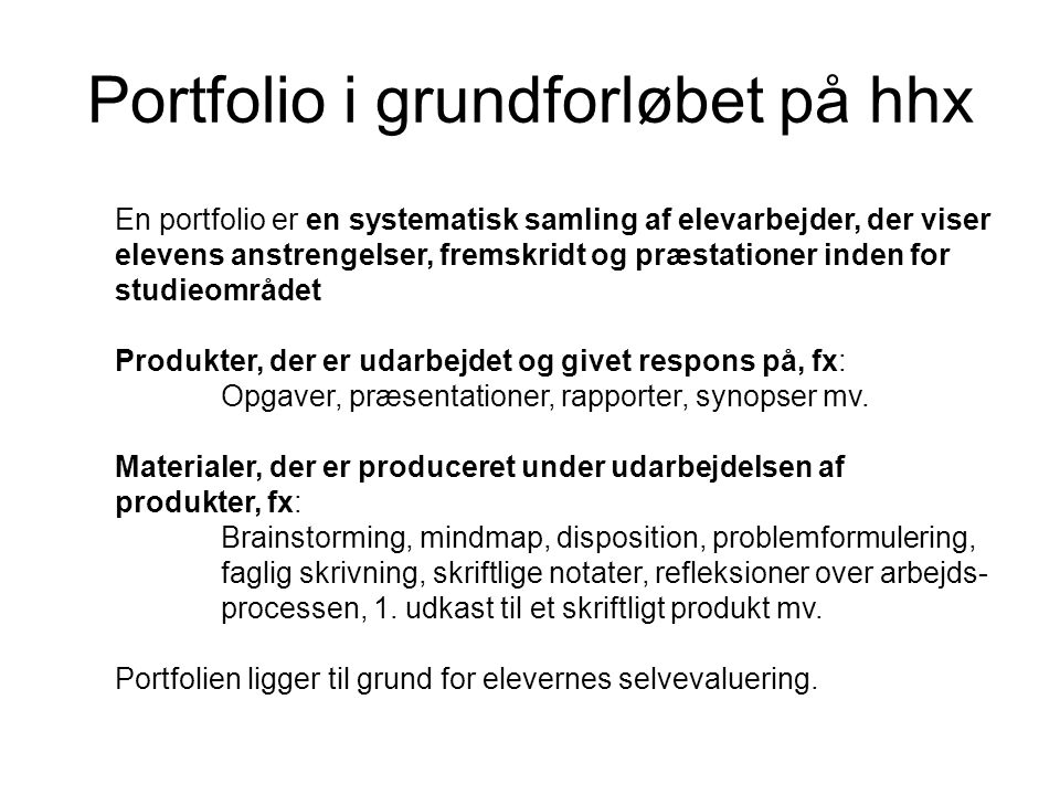 Portfolio i grundforløbet på hhx