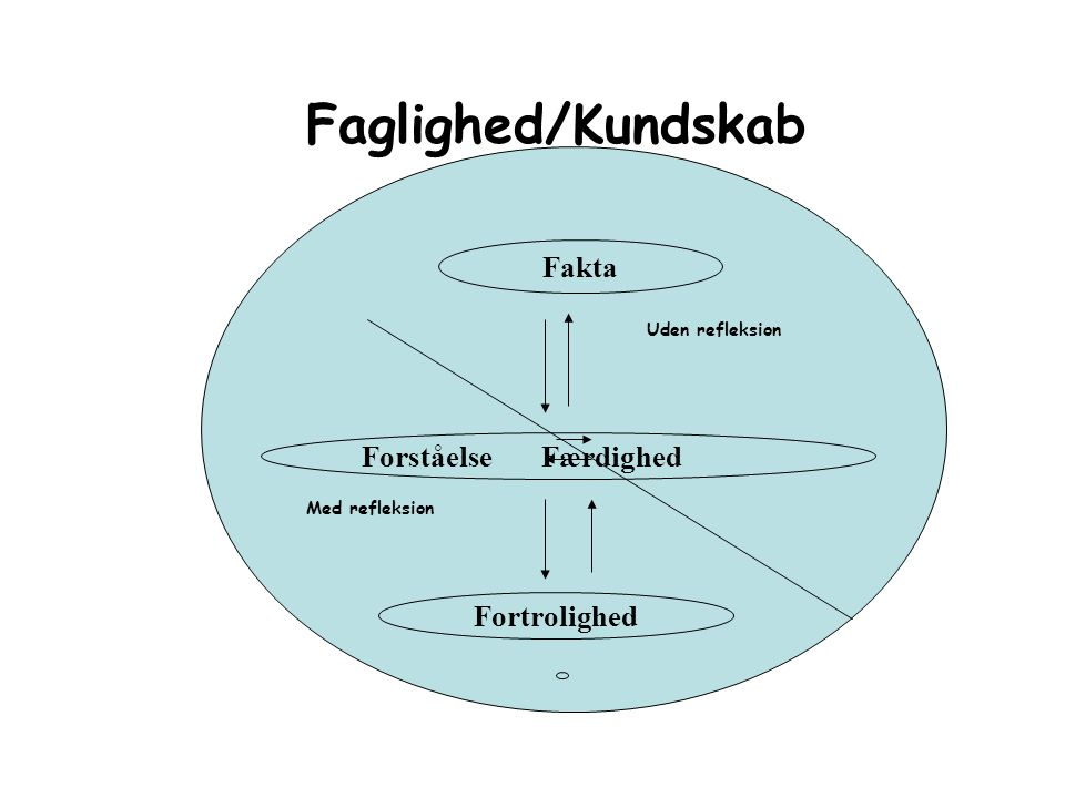 Faglighed/Kundskab Fakta Forståelse Færdighed Fortrolighed