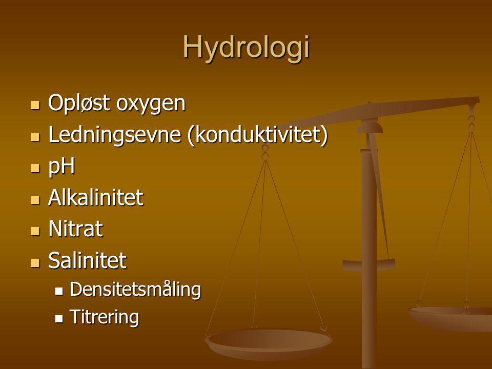Hydrologi Opløst oxygen Ledningsevne (konduktivitet) pH Alkalinitet