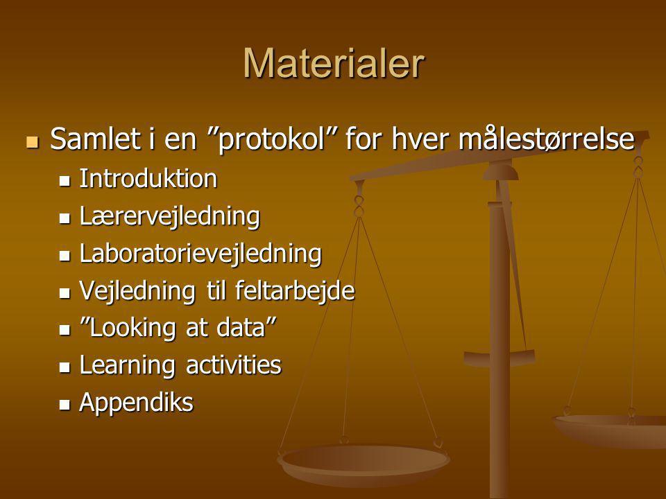 Materialer Samlet i en protokol for hver målestørrelse Introduktion