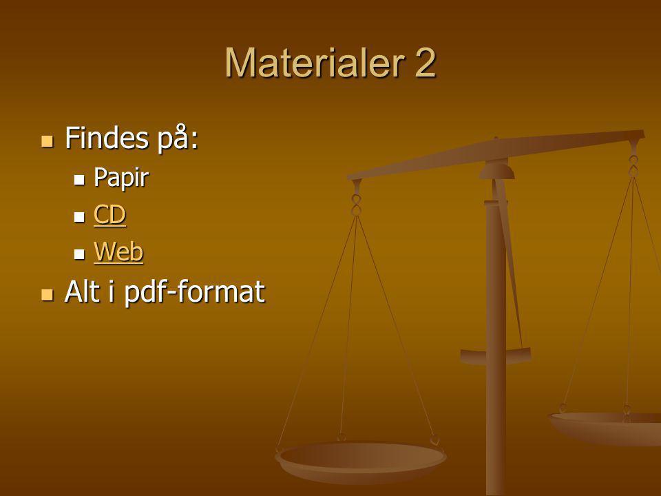 Materialer 2 Findes på: Papir CD Web Alt i pdf-format