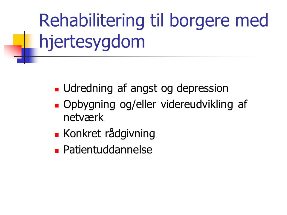 Rehabilitering til borgere med hjertesygdom