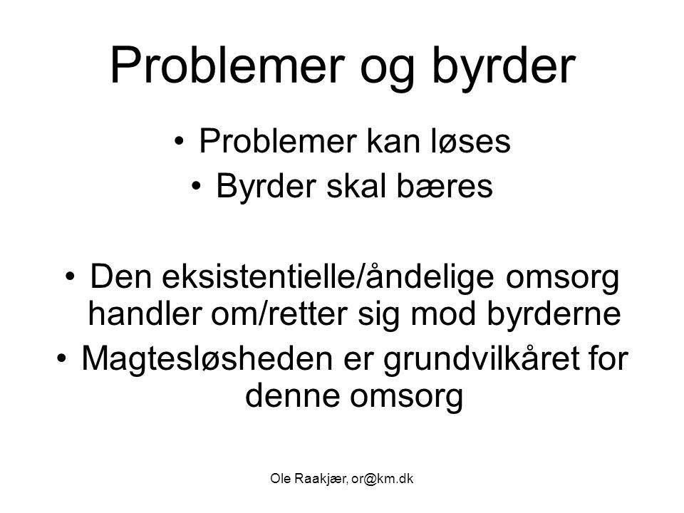 Problemer og byrder Problemer kan løses Byrder skal bæres