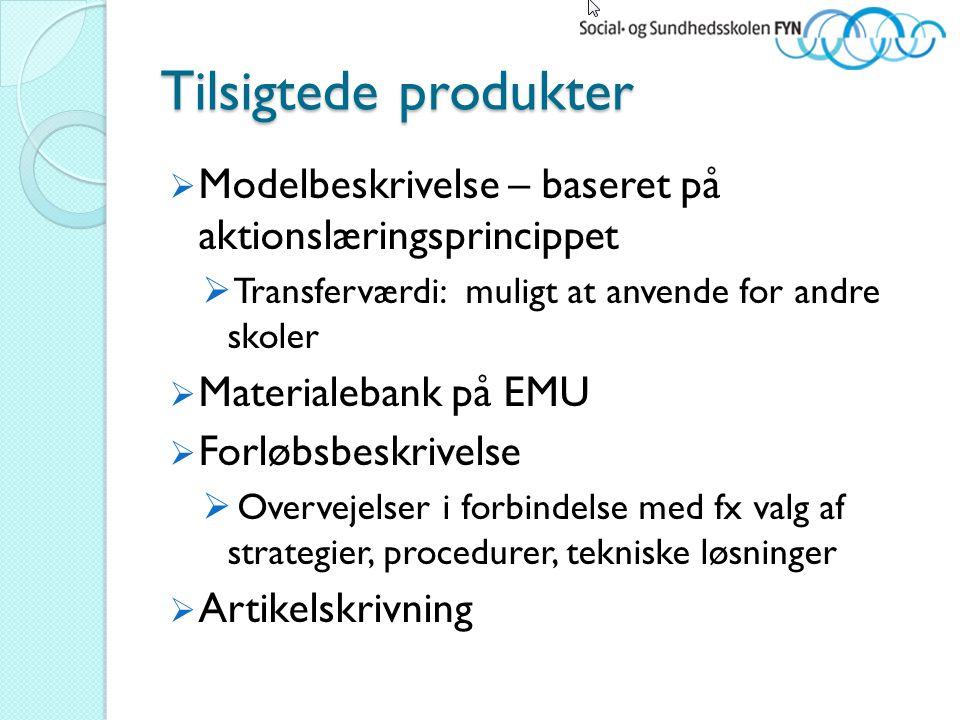 Tilsigtede produkter Modelbeskrivelse – baseret på aktionslæringsprincippet. Transferværdi: muligt at anvende for andre skoler.