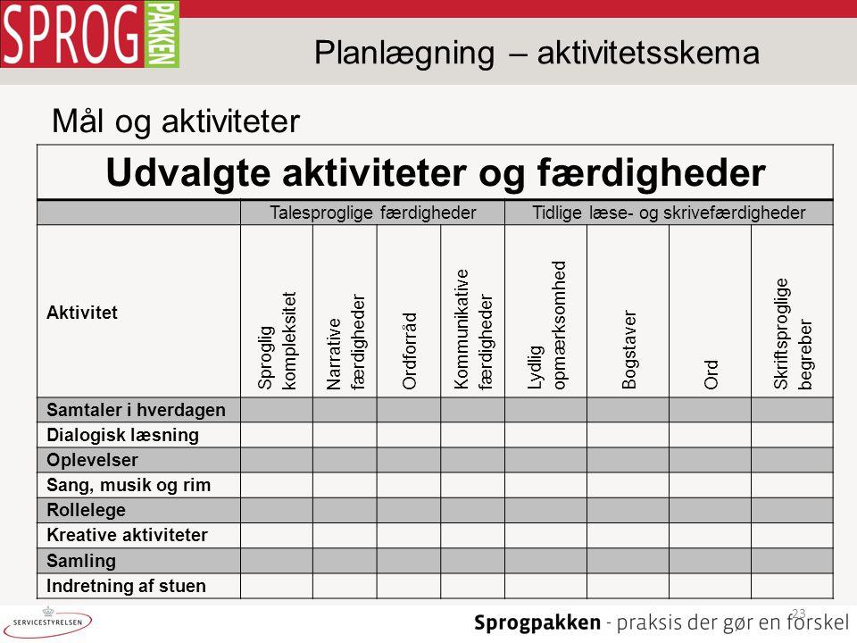 Planlægning – aktivitetsskema