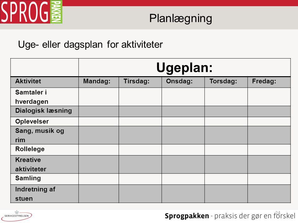 Ugeplan: Planlægning Uge- eller dagsplan for aktiviteter Aktivitet