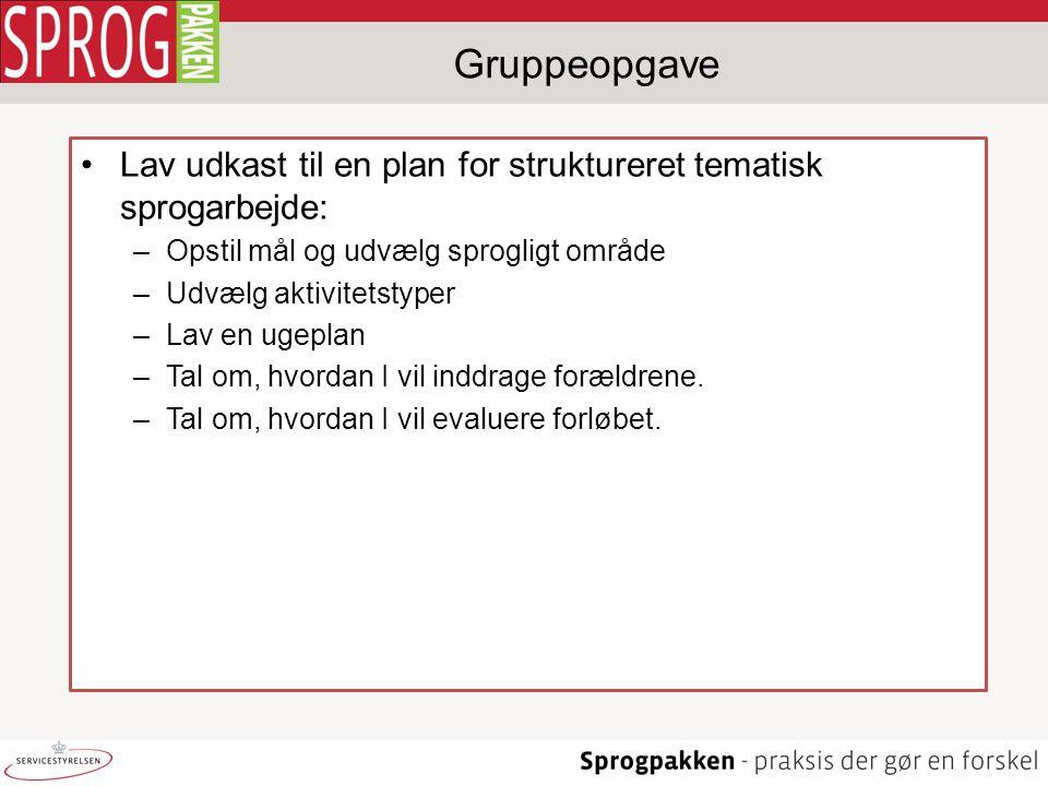 Gruppeopgave Lav udkast til en plan for struktureret tematisk sprogarbejde: Opstil mål og udvælg sprogligt område.