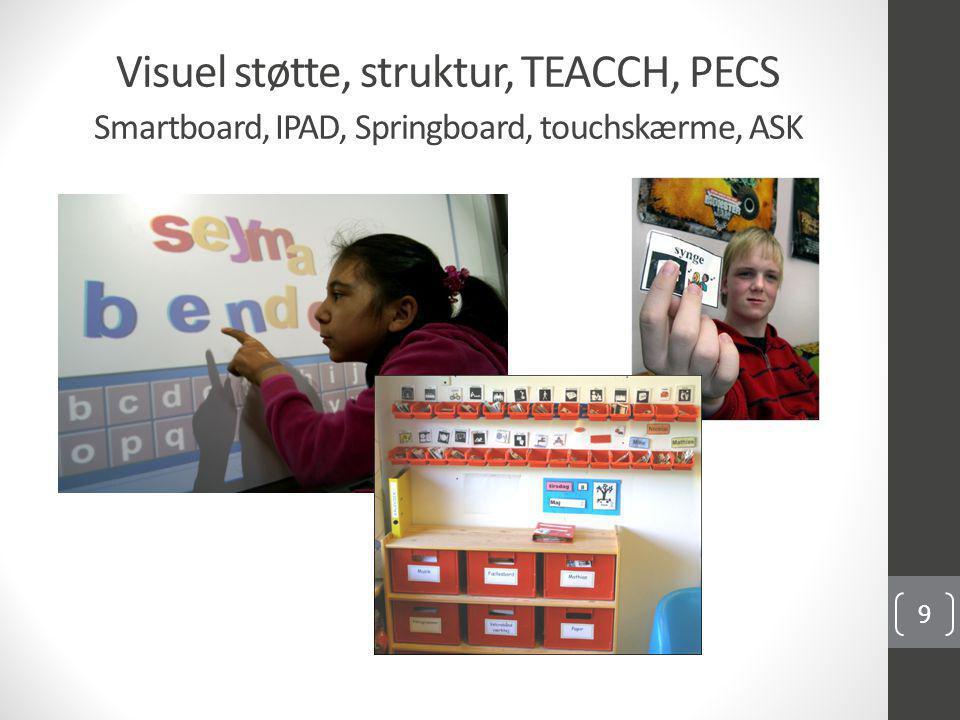 Visuel støtte, struktur, TEACCH, PECS Smartboard, IPAD, Springboard, touchskærme, ASK